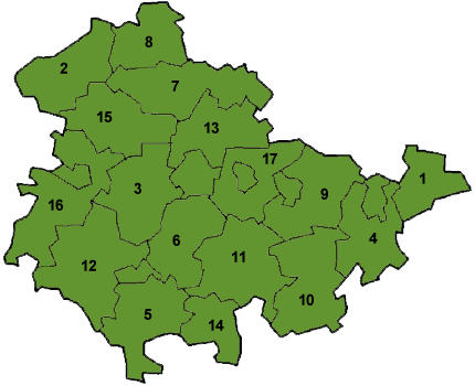 Map of Thüringen showing the boundaries of the districts