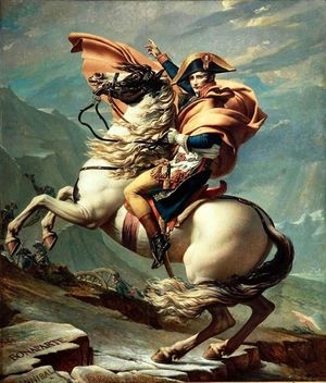 Portrait painting of a horse rearing-up at a 45-degree angle with a man sitting on it and pointing forwards with his right hand whilst holding onto the reins with his left