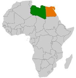 خريطة توضح موقع ليبيا ومصر