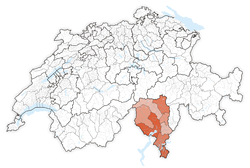 Map of Switzerland, location of كانتون تيتشينو highlighted
