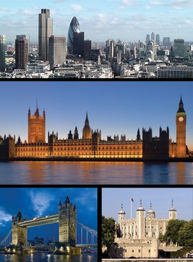Top: City of London skyline, Middle: Palace of Westminster, Bottom left: Tower Bridge, Bottom right: Tower of London.