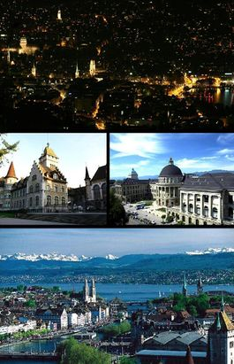 Top: Night view of Zurich from Üetliberg, Middle left: National Museum, Middle right: Swiss Federal Institute of Technology, Bottom: View over Zurich and the lake.