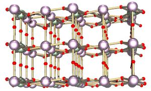 Ball and stick model of cubic-like crystal structure containing two type of atoms.