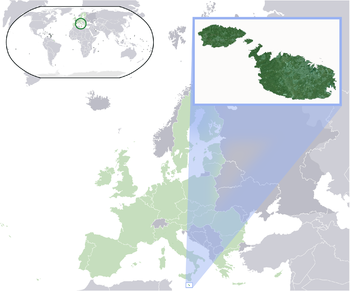 Location of Malta (dark green) – on the European continent (light green & dark grey) – in the الأتحاد الأوروبى (light green)